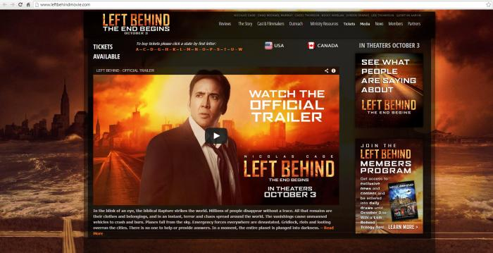 Left Behind Movie mit Nicolas Cage (Screenshot www.leftbehindmovie.com vom 3.10.14)